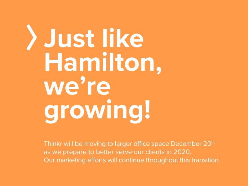 Thinkr Is Moving to Bigger Office Space December 20.